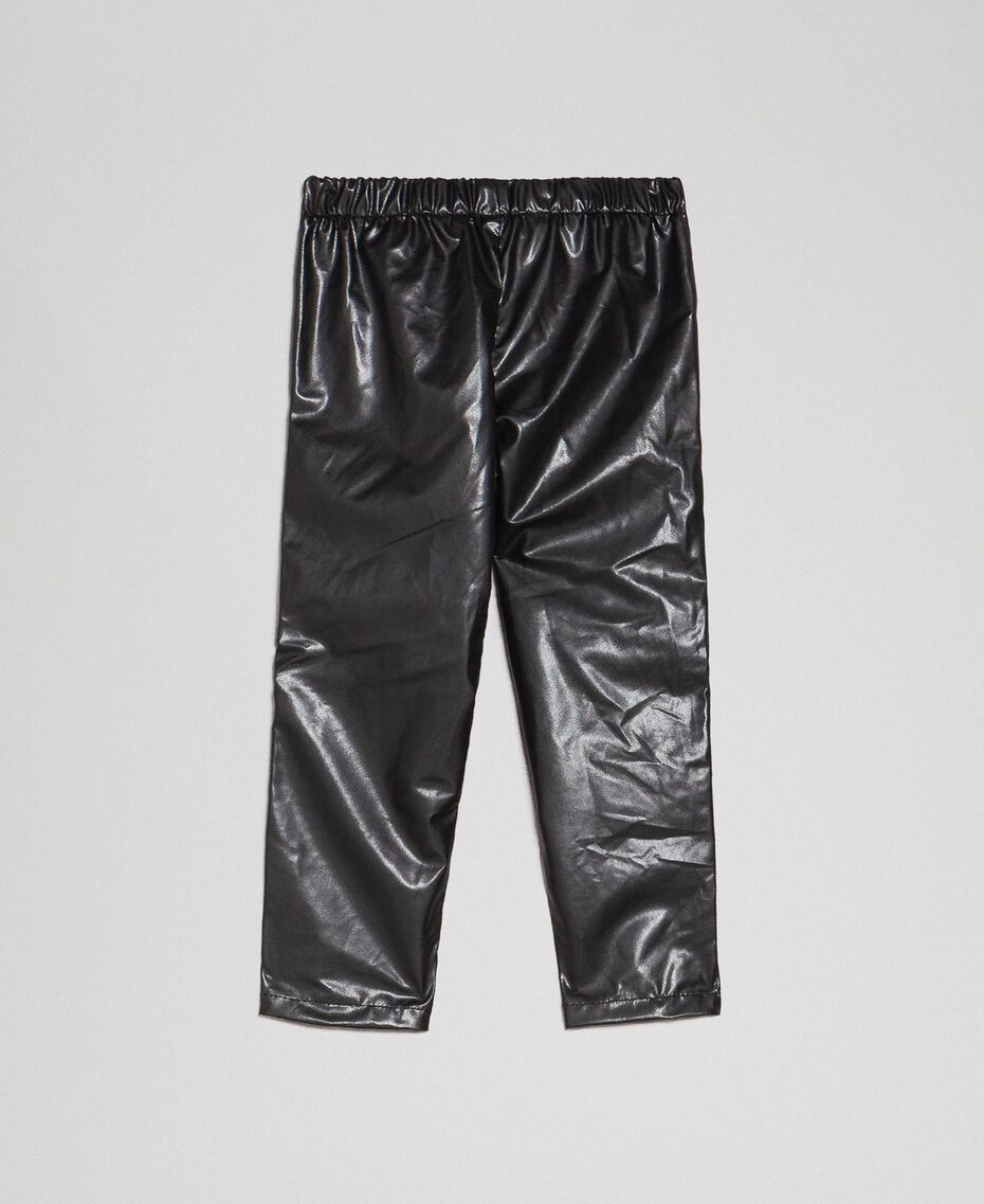 Леггинсы из искусственной кожи со стразами Черный Pебенок 192GB2010-0S