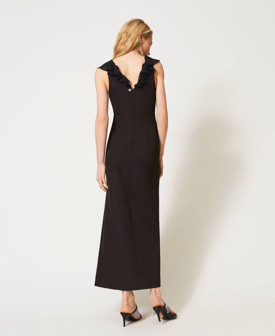 Long cady dress with ruffles Black Woman 211TQ213A-03
