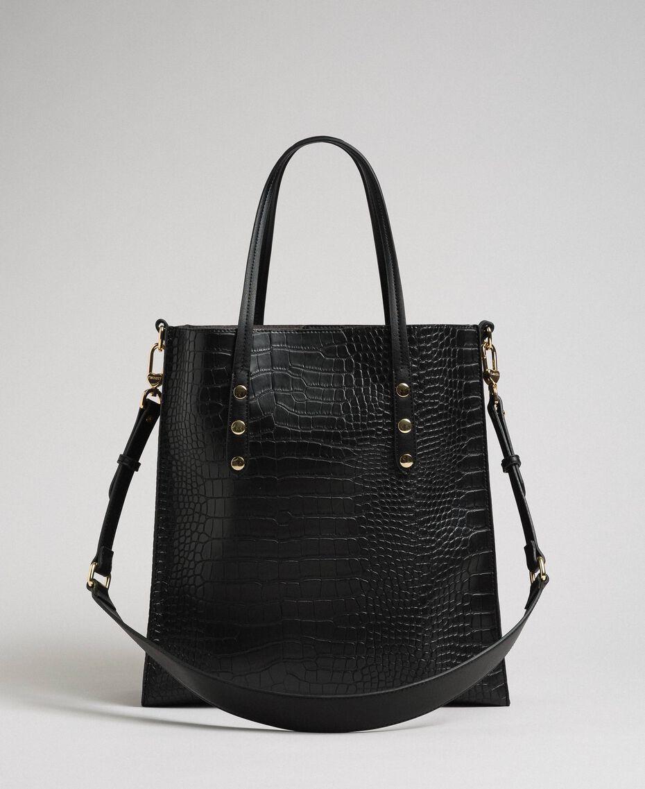 Crocodile print faux leather shopping bag Black Crocodile Print Woman 192TA7276-02