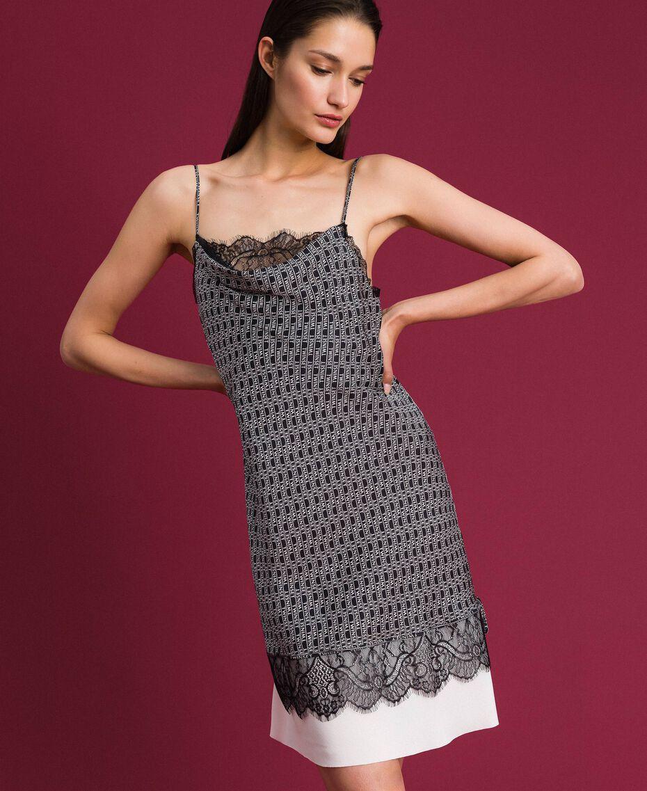 """Slip dress with logo print Black / """"Snow"""" White Logo Print Woman 192TP258B-02"""
