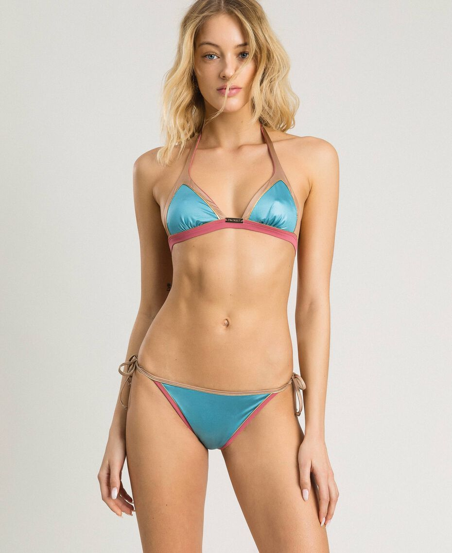 "Brazilian-Bikinihose mit Kontrasträndern Multicolour ""Daylight Blue"" Blau / ""Tender Rose"" Pink / ""Petra Sandstone"" Braun Frau 191LMMH88-0S"