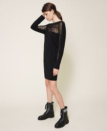 Knitted dress with tulle and lace Black Woman 202TP3380-02