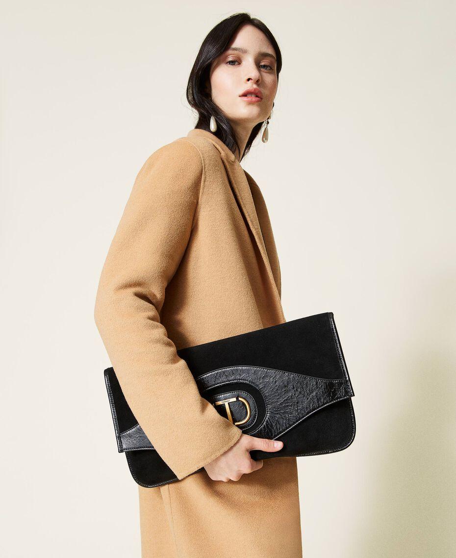 Folded leather clutch Black Woman 212TB7171-0S