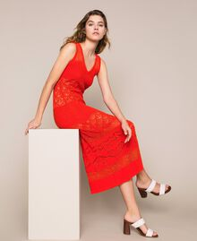 "Openwork long dress with sequins ""Ace"" Orange Woman 201LM3AAA-01"