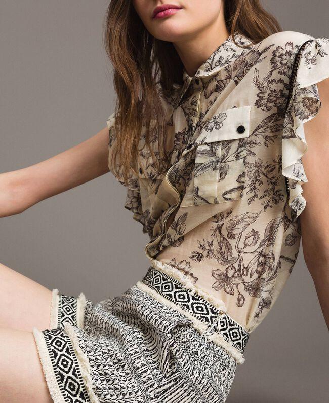 Silk blend printed shirt Toile De Jouy Black Print Woman 191TT2403-05