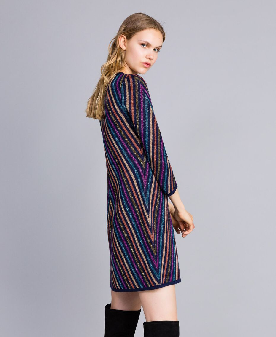 Multi-coloured jacquard lurex dress with stripes Blue Lurex Stripe Jacquard Woman TA838D-02