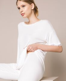 Ribbed pyjamas with lace Ivory Woman 201LL25BB-04