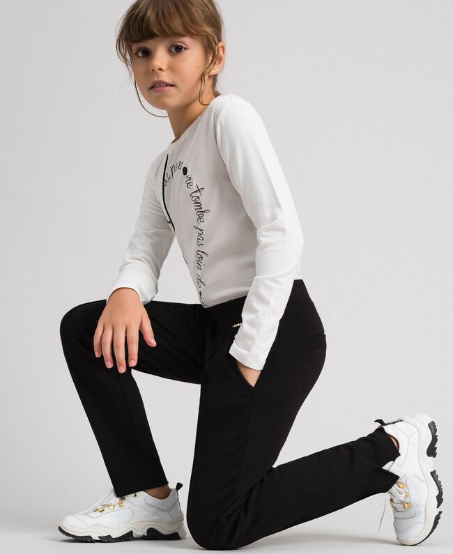 Slim fit trousers with elastic Black Child 192GJ2250-04