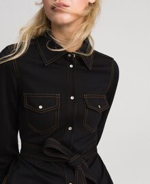 Denim effect shirt dress Black Woman 192MT2330-04