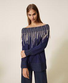 Sweatshirt mit Stickerei und Fransen Blackout Blau Frau 202LI2HAA-01