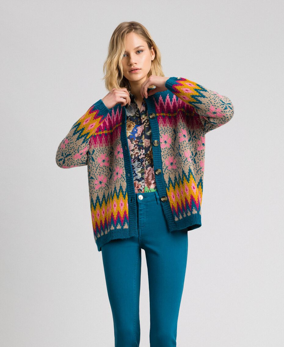 Pull-cardigan jacquard multicolore Jacquard Multicolore Bleu « Lake » Femme 192MP3181-02