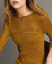"""Openwork lurex dress """"Golden Oak"""" Gold Lurex Woman 191TT3111-05"""