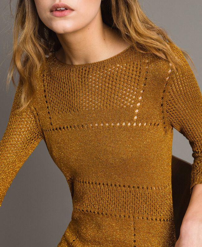 """Kleid aus Lurex mit Durchbruchmuster """"Golden Oak"""" Gold Lurex Frau 191TT3111-05"""