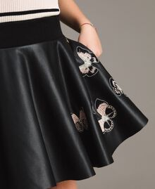 Faux leather skirt with butterflies Black Child 191GJ2261-04