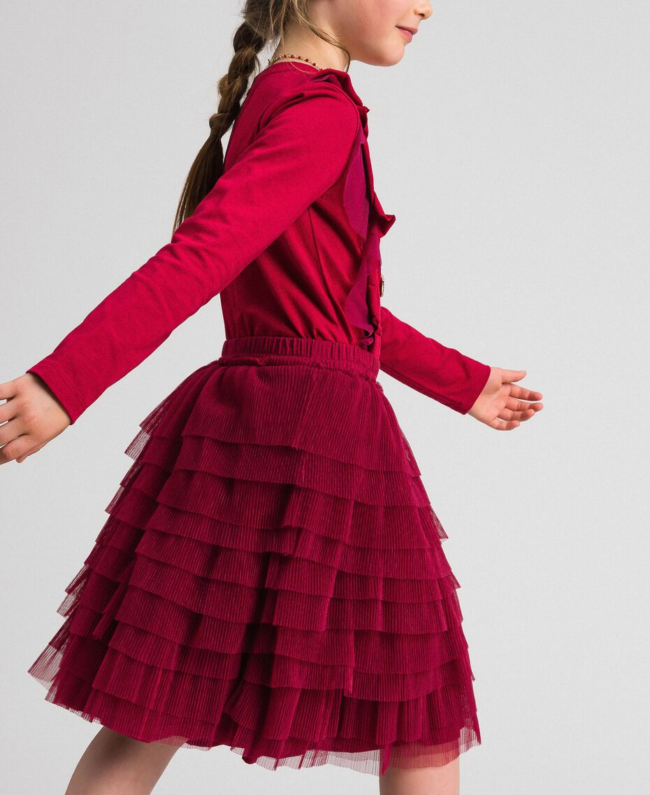 Pleated flounce tulle skirt Ruby Wine Red Child 192GJ2113-02