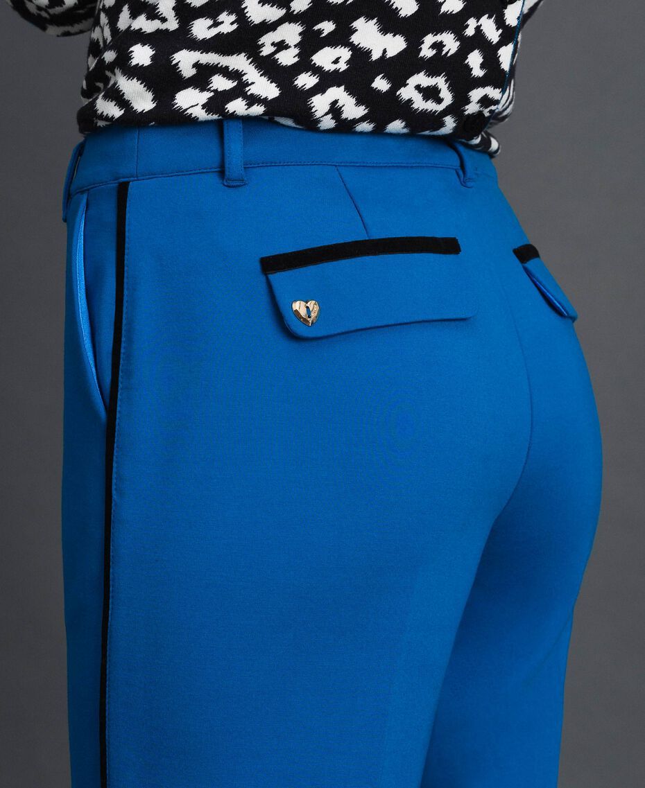 Pantalon cigarette avec bandes en velours Bleu Japonais Femme 192MP2173-02