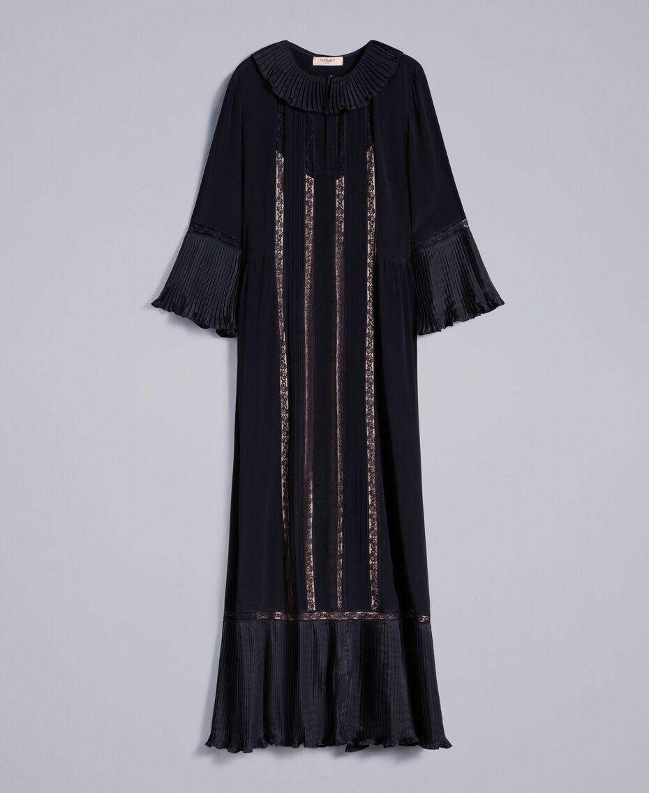 Maxikleid aus Seidenmischung mit Plissee Schwarz Frau TA823N-0S