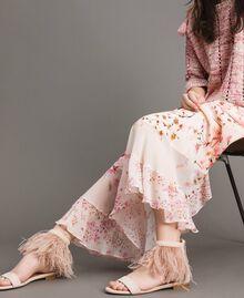 Sandales plates à plumes Rose Bouton Femme 191TCP212-0S