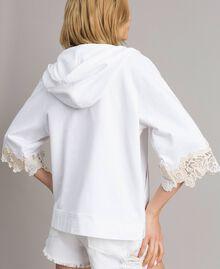 Sweat-shirt avec patchs floraux brodés Blanc Femme 191TT2211-04