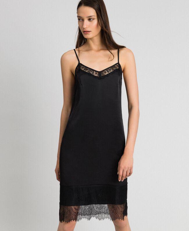 Unterkleid aus Satin mit Spitze Schwarz Frau 192MP2132-01