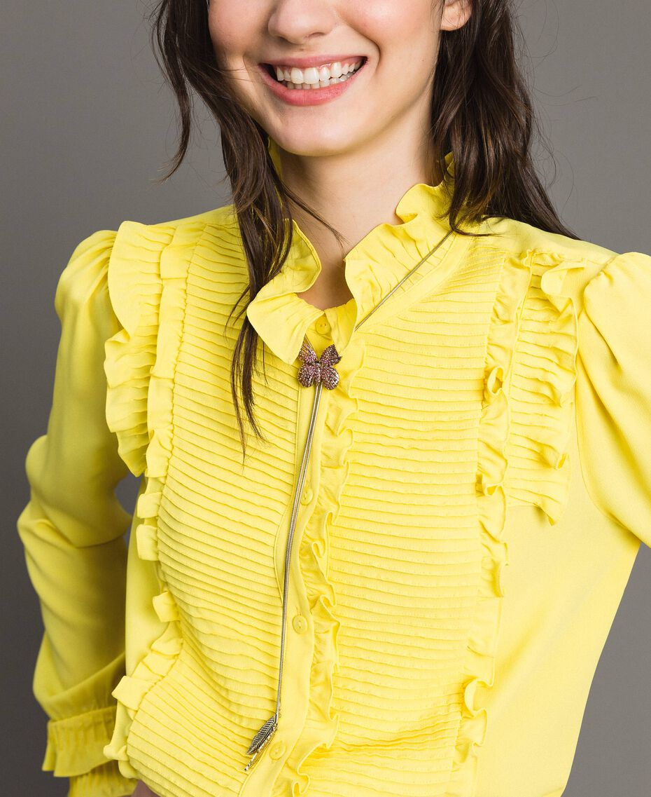 Rüschen-Hemd aus Seide-Mix Gelb Frau 191TP2134-01