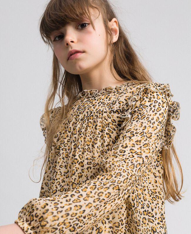 Blusa in georgette animalier e fiori Stampa Leopardo / Fiore Bambina 192GJ2571-04