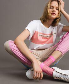 Lurex fishnet socks Fluorescent Pink Woman 191TA4348-0S