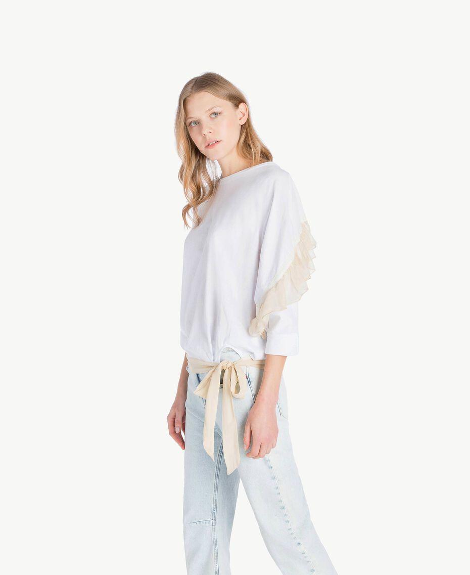 Maxi-T-Shirt mit Volants Weiß Frau PS82T2-02