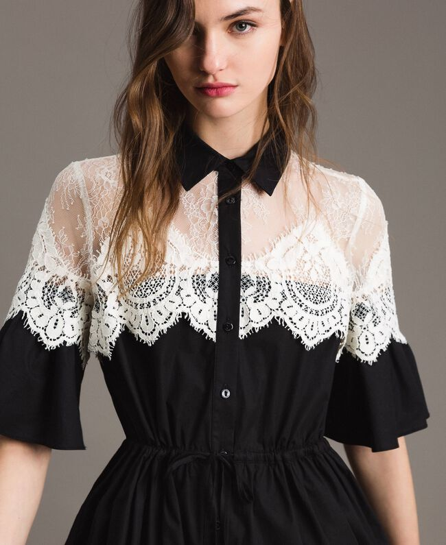 Poplin shirt dress with lace inlays Black Woman 191TT2121-04