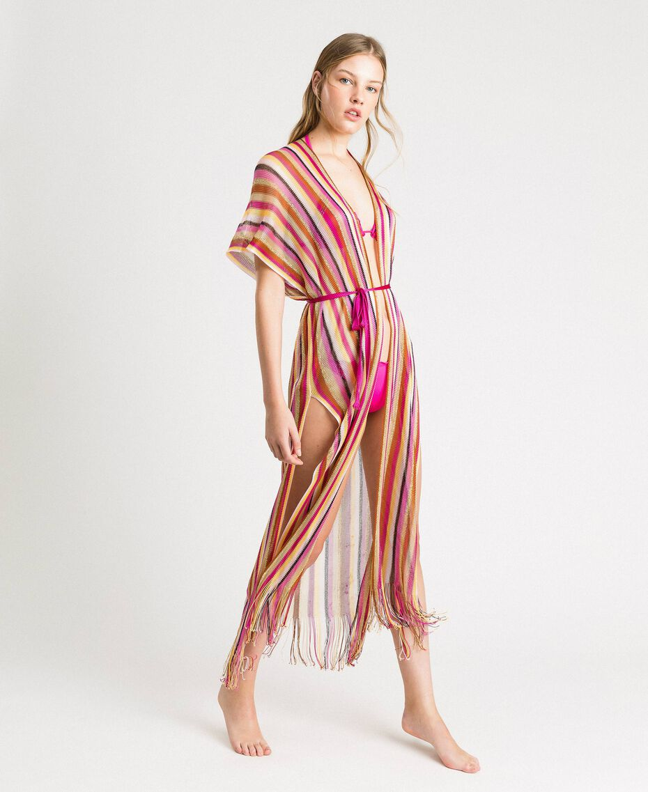 "Lurex striped knit poncho ""Psychedelic Pink"" Fuchsia Multicolour Striping Woman 191LB4AMM-02"