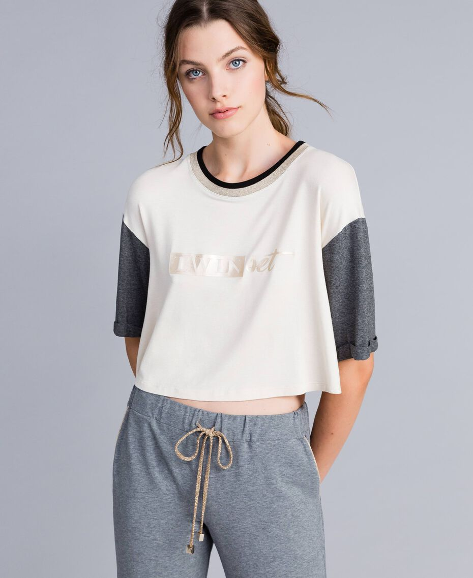 Cropped-T-Shirt aus Jersey Zweifarbig Weiß / Graumelange Frau IA81JJ-02