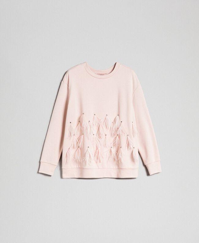 Sweatshirt mit Glassteinen und Federn Blütenknospenrosa Frau 192TT2131-0S