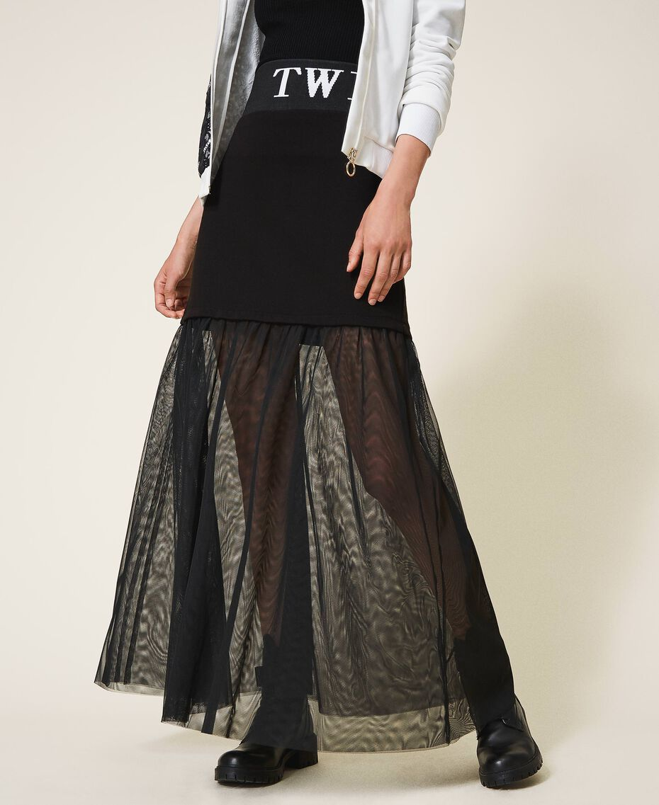 Long skirt with tulle Black Woman 202LI2NMM-02