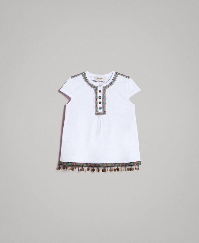 Jersey T-shirt with mini medals White Child 191GJ2053-01