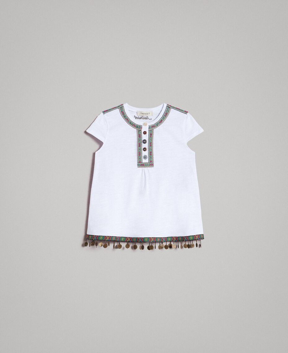 Camiseta de jersey con minimedallas Blanco Niño 191GJ2053-01