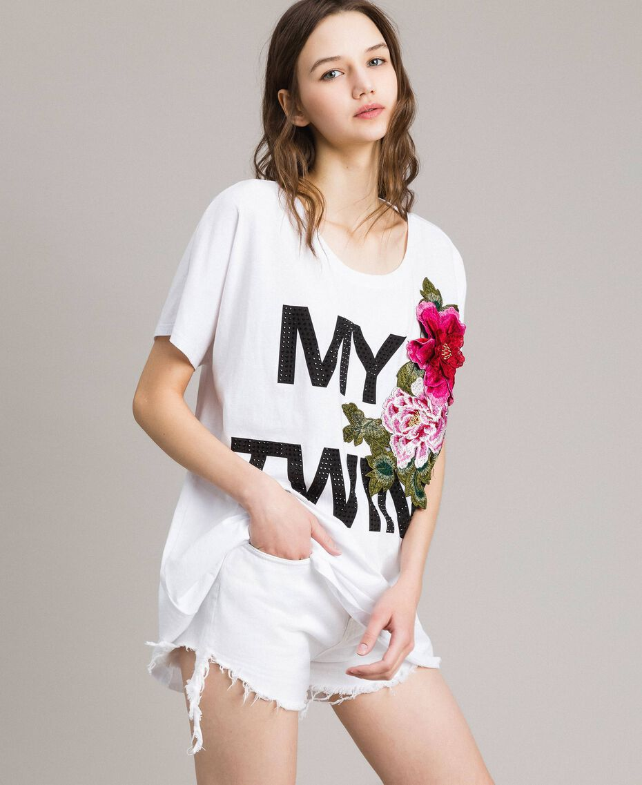 Maxi T-shirt with logo and embroidery White Woman 191MT241E-02