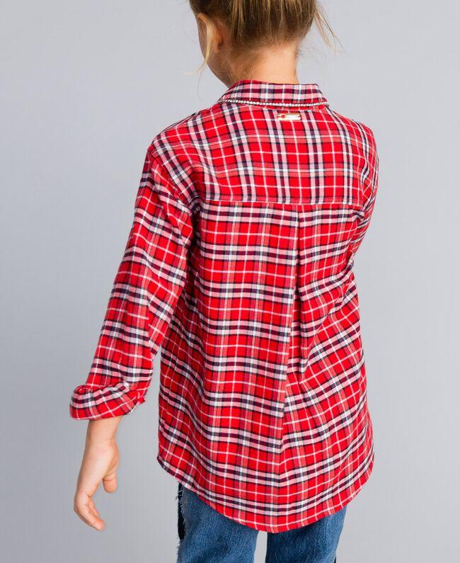 "Maxi camicia jacquard check Jacquard Rosso ""Quadri Papavero"" Bambina GA824N-04"