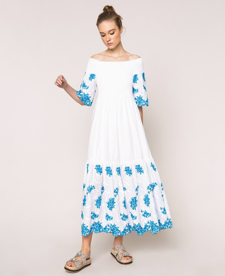 """Long scalloped dress with embroideries Two-tone """"Bay"""" Blue / Optical White Woman 201LM2NDD-01"""
