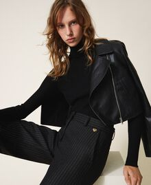 Укороченная куртка-косуха из искусственной кожи Черный женщина 202TP230A-01