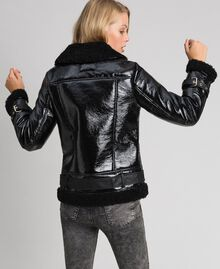 Patent leather effect faux shearling biker jacket Black Woman 192MT2030-04