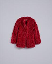 Jacke aus Pelzimitat Dunkle Himbeere Frau TA82AU-0S