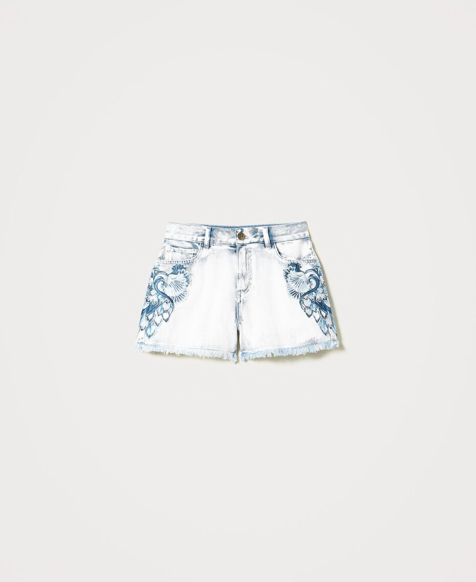 """Denim shorts with patch embroideries Embroidered """"Beach"""" Blue Woman 211TT243A-0S"""