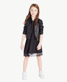 Kleid mit Spitze Zweifarbig Schwarz / Papyrusweiß Kind GS82EE-06