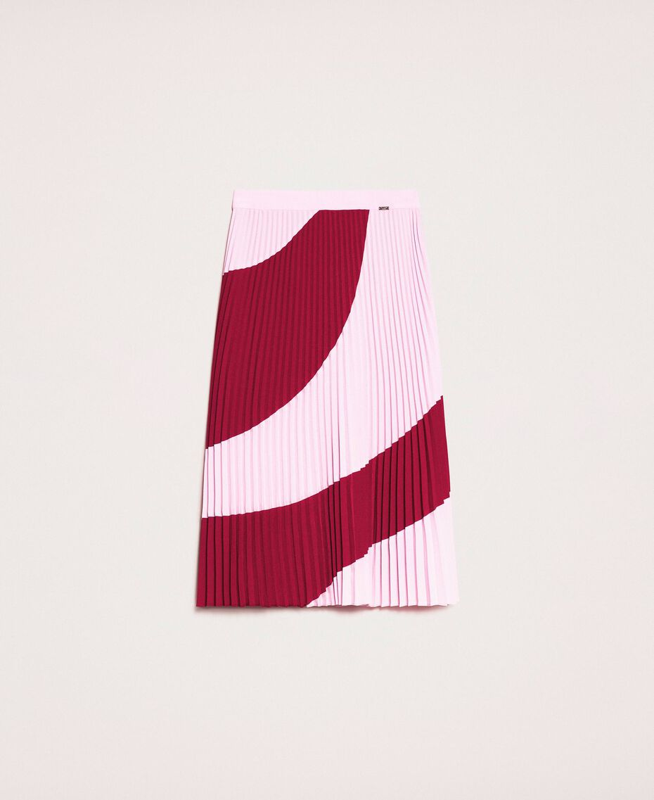 """Pleated crêpe de Chine midi skirt Two-tone """"Crimson"""" Red / """"Candy"""" Pink Woman 201ST2013-0S"""