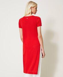 """Длинный джемпер из смесового льна с разрезами Красный """"Коралл"""" женщина 211TT3153-04"""
