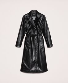 Faux leather trench coat with belt Black Woman 201MP2031-0S