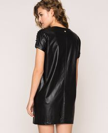 Faux leather dress with embroidery Black Woman 201ST2111-03