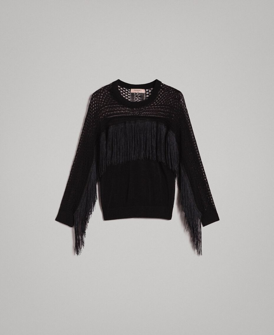 Mesh and lace stitch fringed jumper Black Woman 191TT3063-0S