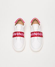 """Leather trainers with logo band Multicolour Optical White / """"Geranium"""" Red /""""Jazz"""" Pink Woman 201TCT064-05"""