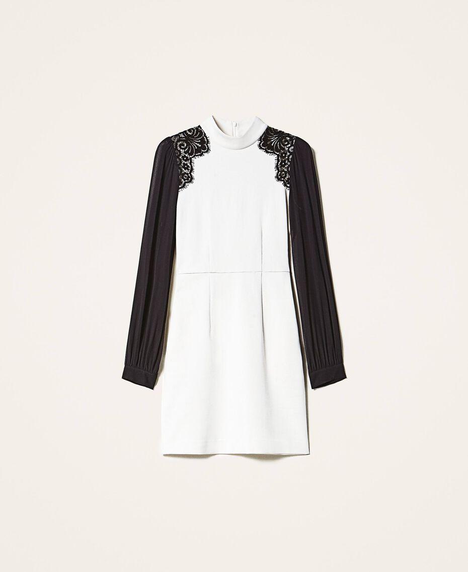 Sheath dress with lace Parchment White Woman 202TT2280-0S